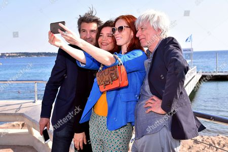 Stock Photo of 'Spiral' photocall - Fred Bianconi, Caroline Proust, Audrey Fleurot and Philippe Duclos during a photocall to present 'Engrenages'