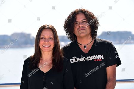 Christina Fon and Stevie Salas during a photocall to present 'Rumble : the Indians who rocked the World'