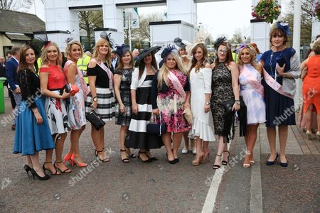 Ladies arrive  during Ladies Day of The Grand National Meeting at Aintree  on 7th April 2017 Picture Luke Williams/BPI