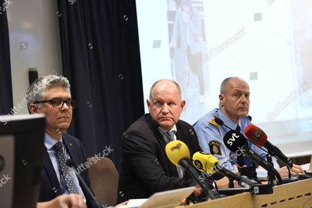 (L-R) Anders Thornberg, National Police Commissioner Dan Eliasson, Swedish Security Service (SAPO) Mats Lofving, Deputy Director of the Swedish Police Authority, hold a press conference at Police Headquarters in Stockholm, Sweden, 07 April 2017 where reports state that shots have been fired. Three people were killed when a truck crashed into department store Ahlens on Drottninggatan, in central Stockholm, 07 April 2017.