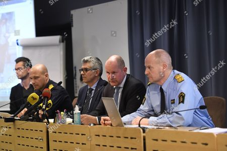 (L-R) Jan Evesson, Mats Johansson, Anders Thornberg, National Police Commissioner Dan Eliasson, Swedish Security Service (SAPO) Mats Lofving, Deputy Director of the Swedish Police Authority, hold a press conference at Police Headquarters in Stockholm, Sweden, 07 April 2017 where reports state that shots have been fired. Three people were killed when a truck crashed into department store Ahlens on Drottninggatan, in central Stockholm, 07 April 2017.