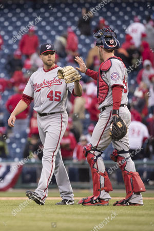 Washington Nationals relief pitcher Blake Treinen (45) celebrates the win with catcher Matt Wieters (32) during the MLB game between the Washington Nationals and Philadelphia Phillies at Citizens Bank Park in Philadelphia, Pennsylvania. The Nationals won 7-6 Christopher Szagola/CSM