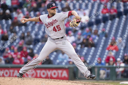 Washington Nationals relief pitcher Blake Treinen (45) in action during the MLB game between the Washington Nationals and Philadelphia Phillies at Citizens Bank Park in Philadelphia, Pennsylvania. The Nationals won 7-6 Christopher Szagola/CSM