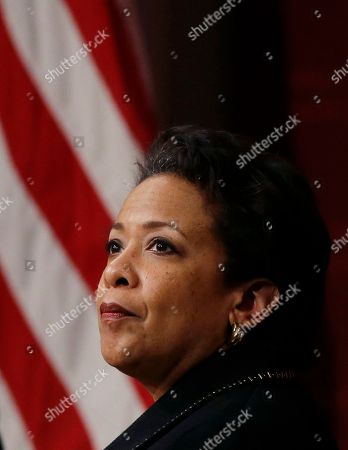 Former U.S. Attorney General Loretta Lynch, the nation's first black woman to head the Justice Department, listens during a conference on policy and blacks at Harvard University's Kennedy School of Government, in Cambridge, Mass. The 57-year-old North Carolina native graduated from Harvard College in 1981 and from Harvard Law School in 1984