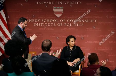 Former U.S. Attorney General Loretta Lynch, the nation's first black woman to head the Justice Department, is applauded after speaking at a conference on policy and blacks at Harvard University's Kennedy School of Government, in Cambridge, Mass. The 57-year-old North Carolina native graduated from Harvard College in 1981 and from Harvard Law School in 1984