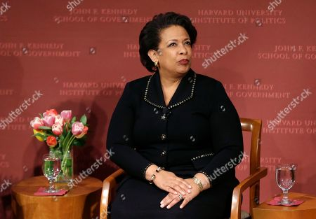 Former U.S. Attorney General Loretta Lynch, the nation's first black woman to head the Justice Department, sits during a conference on policy and blacks at Harvard University's Kennedy School of Government, in Cambridge, Mass. The 57-year-old North Carolina native graduated from Harvard College in 1981 and from Harvard Law School in 1984