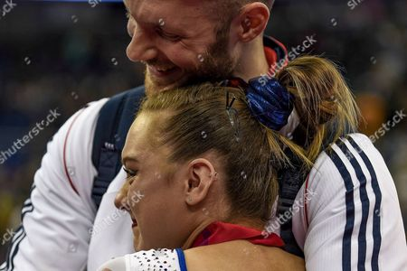 Amy Tinkler of Great Britain (GBR) is overcome with emotion after winning the Bronze Medal during the iPro Sport World Cup of Gymnastics 2017 at the O2 Arena, London