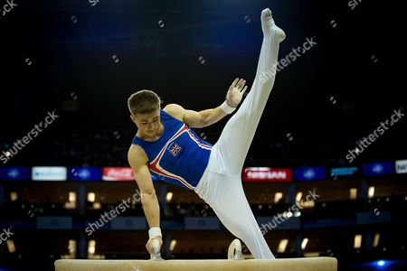 Sam Oldham of Great Britain (GBR) on the Pommel Horse during the iPro Sport World Cup of Gymnastics 2017 at the O2 Arena, London