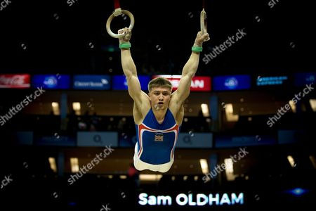 Sam Oldham of Great Britain (GBR) on the Rings during the iPro Sport World Cup of Gymnastics 2017 at the O2 Arena, London