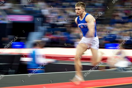 Sam Oldham of Great Britain (GBR) sprints to the Vault during the iPro Sport World Cup of Gymnastics 2017 at the O2 Arena, London