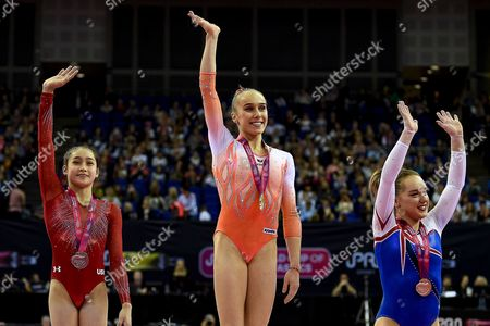 Woman's podium (L-R) Victoria Nguyen of the United States of America (USA) Silver Medal,  Tabea Alt of Germany (GER) Gold Medal, Amy Tinkler of Great Britain (GBR) Bonze Medal during the iPro Sport World Cup of Gymnastics 2017 at the O2 Arena, London
