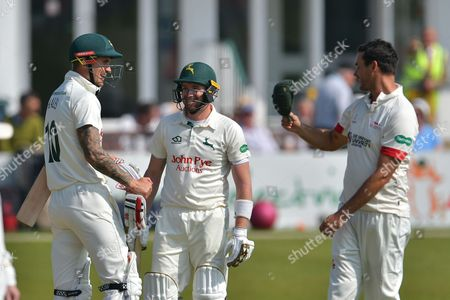 Alex Hale, Riki Wessels and Clint McKay during the Specsavers County Champ Div 2 match between Leicestershire County Cricket Club and Nottinghamshire County Cricket Club at the Fischer County Ground, Grace Road, Leicester