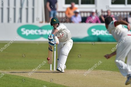 Jake Libby edges Clint McKay and is caught behind by Colin Ackermann (not shown) during the Specsavers County Champ Div 2 match between Leicestershire County Cricket Club and Nottinghamshire County Cricket Club at the Fischer County Ground, Grace Road, Leicester