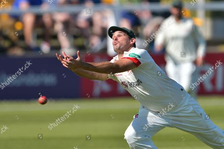 Clint McKay misses a catch off Stuart Broad (not shown) during the Specsavers County Champ Div 2 match between Leicestershire County Cricket Club and Nottinghamshire County Cricket Club at the Fischer County Ground, Grace Road, Leicester