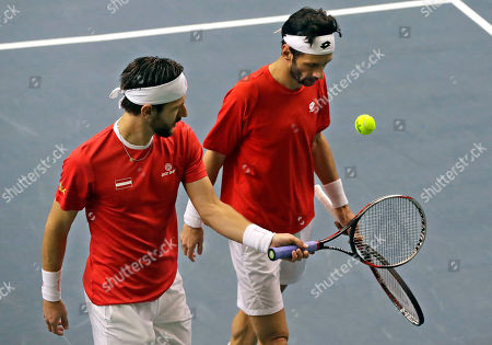Julian Knowle, Jurgen Melzer Austria's Julian Knowle, right, and his partner Jurgen Melzer react during their Davis Cup Euro-African Zone First Group, second round, tennis match against Yaraslav Shyla and Max Mirnyi of Belarus in Minsk, Belarus