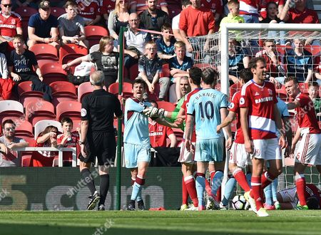 Goalkeeper Victor Valdes of Middlesbrough clashes with Joey Barton of Burnley during  the Premier League match between Middlesbrough and Burnley played at The Riverside Stadium,  Middlesbrough on Saturday the 8th of April 2017