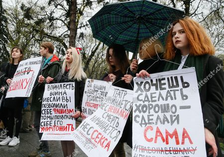 Ukrainian activists hold placards reading 'Her body - her choice!', ?If you don?t have a womb ? you don?t to have an opinion!', ?Never again!?, ?An embryo is human but woman no??  and shout slogans during their protest in front of parliament building in Kiev, Ukraine, 08 April 2017. Activists protest against a new bill in the Ukrainian Parliament which forbids abortitions for Ukrainian women. They demand a right whereby they can decide themselves on a pregnancy.