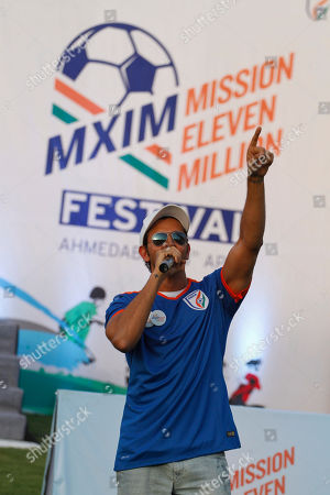 Bollywood actor Hrithik Roshan speaks during Mission XI Million mega football festival in Ahmadabad, India, . Mission XI Million aims in getting 11 million children in contact with the game of football, leading up to the FIFA U-17 World Cup which will be held in India in 2017