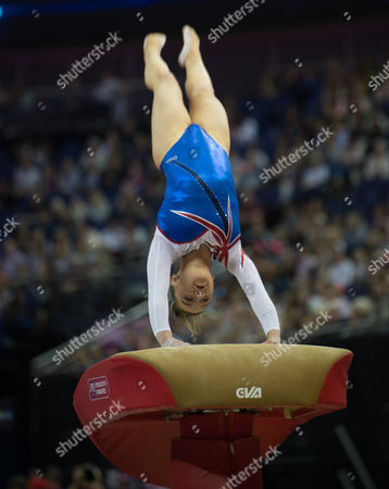 Amy Tinkler (GBR) in action during the womenÕs Vault competition.  FIG World Cup Series of Gymnastics. The O2 Arena, London,  Britain 8th April 2017.
