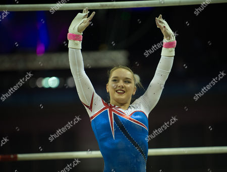 Amy Tinkler (GBR) interacts with the crowd after her performance in the Uneven Bars.  FIG World Cup Series of Gymnastics. The O2 Arena, London,  Britain 8th April 2017.