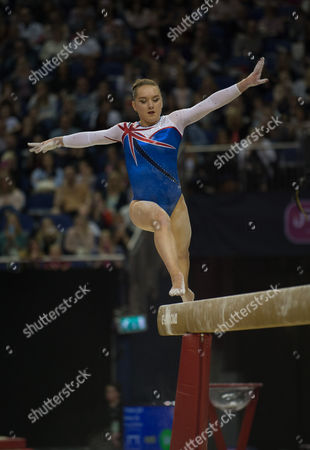 Amy Tinkler (GBR) in action during the womenÕs Beam competition.  FIG World Cup Series of Gymnastics. The O2 Arena, London,  Britain 8th April 2017.