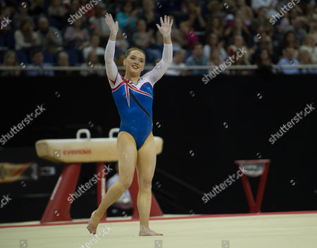 Amy Tinkler (GBR) interacts with the crowd after her performance n the womenÕs Floor competition.  FIG World Cup Series of Gymnastics. The O2 Arena, London,  Britain 8th April 2017.