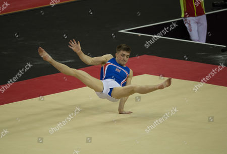Sam Oldham (GBR) in action during the menÕs Floor competition.  FIG World Cup Series of Gymnastics. The O2 Arena, London,  Britain 8th April 2017.