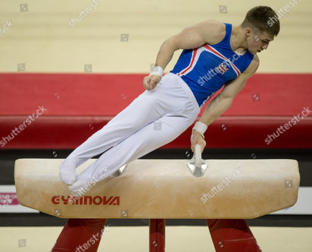 Sam Oldham (GBR) in action during the menÕs Pommel Horse competition.  FIG World Cup Series of Gymnastics. The O2 Arena, London,  Britain 8th April 2017.