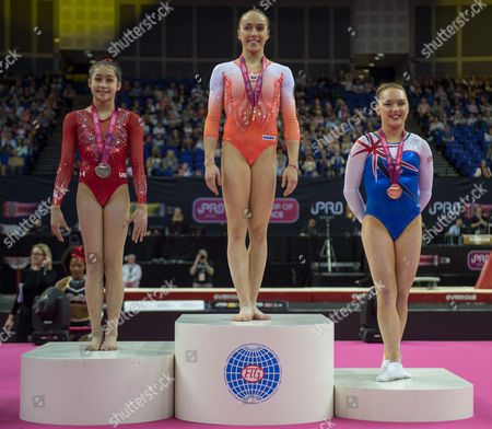 Winners Podium [L-R] Victoria Nguyen (USA), Tabea Alt (GER), Amy Tinkler (GBR).  FIG World Cup Series of Gymnastics. The O2 Arena, London,  Britain 8th April 2017.