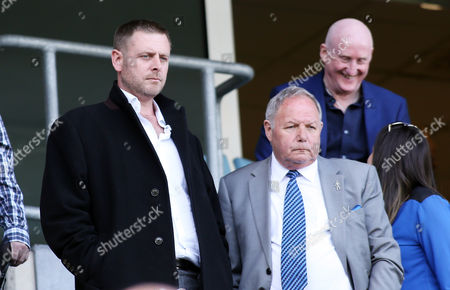 Peterborough United chairman Darragh MacAnthony and director of football Barry Fry in the stands