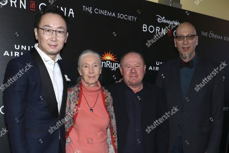 Chuan Lu, director, Dr. Jane Goodall, Brian Leith, producer/writer and Roy Conli, producer