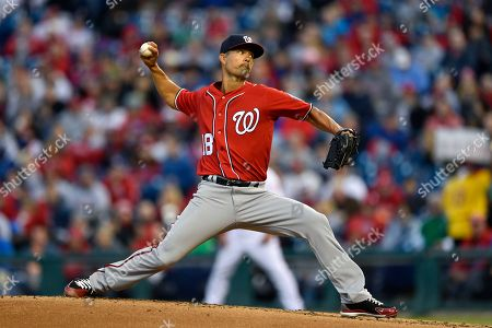 Washington Nationals starting pitcher Jeremy Guthrie throws during the first inning of a baseball game against the Philadelphia Phillies, in Philadelphia