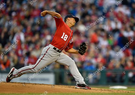 Stock Photo of Washington Nationals starting pitcher Jeremy Guthrie in action during a baseball game against the Philadelphia Phillies, in Philadelphia