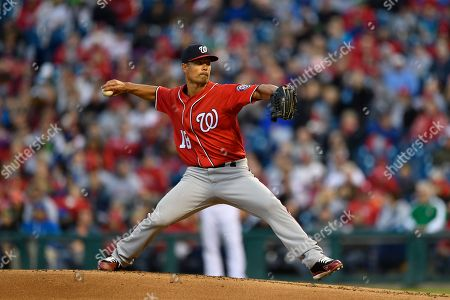 Washington Nationals starting pitcher Jeremy Guthrie in action during a baseball game against the Philadelphia Phillies, in Philadelphia