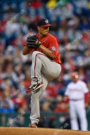 Stock Image of Washington Nationals starting pitcher Jeremy Guthrie in action during a baseball game against the Philadelphia Phillies, in Philadelphia