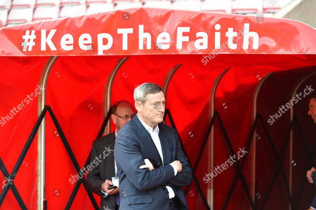 Owner Ellis Short surveys the scene with the mantra keep the faith displayed above before the Premier League match between Sunderland and Manchester United played at The Stadium of Light,  Sunderland on Sunday the 9th of April 2017