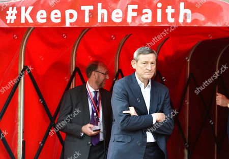 Stock Picture of Owner Ellis Short surveys the scene with the mantra keep the faith displayed above before the Premier League match between Sunderland and Manchester United played at The Stadium of Light,  Sunderland on Sunday the 9th of April 2017