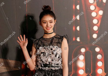 Chinese actress Jelly Lin poses on the red carpet of the Hong Kong Film Awards in Hong Kong