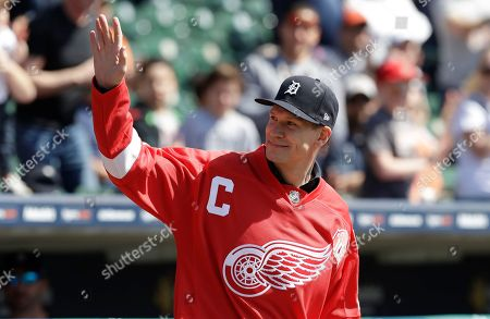 Stock Image of Nicklas Lidstorm Former Detroit Red Wings Hall of Famer Nicklas Lidstrom waves before the first inning of a baseball game between the Detroit Tigers and the Boston Red Sox, in Detroit
