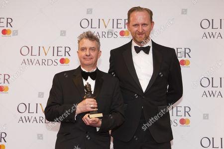 Bob Holland and Phelim McDermott accept the award for Best New Opera Production Akhnaten at London Coliseum