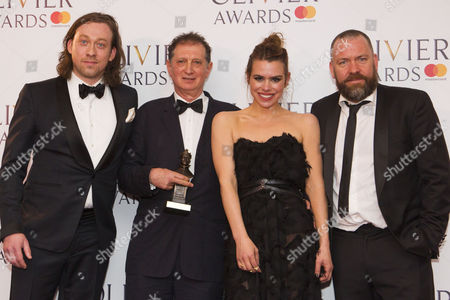 Simon Stone, David Lan, Billie Piper and Brendan Cowell accept the award for Best Revival for Yerma at Young Vic