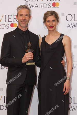 Crystal Pite and Jonathon Young accept the award for Best New Dance Production for Betroffenheit at Sadler's Wells