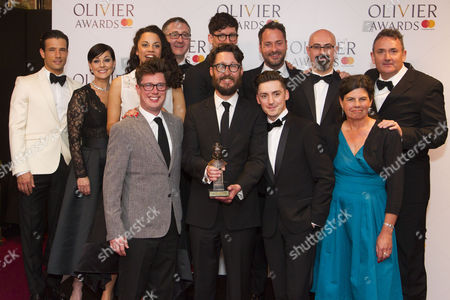 Timothy Sheader, Drew McOnie and members of the cast accept the award for Best Theatre Choreographer for Jesus Christ Superstar at Regent's Park Open Air Theatre