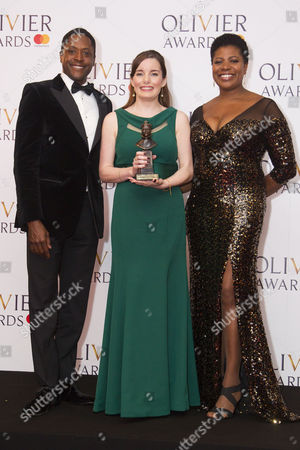 Rebecca Trehearn accepts the award for Best Actress in a Supporting Role in a Musical for Show Boat at New London Theatre, presented by Matt Henry and Brenda Edwards