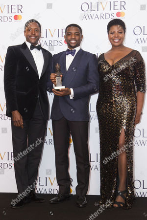 Adam J Bernard accepts the award for Best Actor in a Supporting Role in a Musical for Dreamgirls at Savoy Theatre, presented by Matt Henry and Brenda Edwards