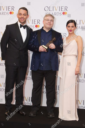 Gareth Fry accepts the award for Best Sound Design for Harry Potter And The Cursed Child at Palace Theatre, presented by Ben Forster and Phoebe Fox