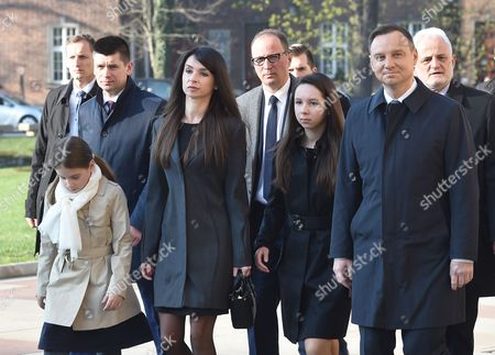Polish President Andrzej Duda (P) with Marta Kaczynska (2-L) with her daughters on their way to the crypt under the Silver Bells Tower at Wawel Castle, to lay flowers at the grave of former President Lech Kaczynski and his wife Maria Kaczynska to mark the 7th anniversary of the Polish presidential plane crash in Smolensk, in Krakow, Poland, 10 April 2017. Poland's President Lech Kaczynski, his wife Maria Kaczynska and 94 others died on 10 April 2010 when Polish presidential plane crashed in Smolensk, Russia.