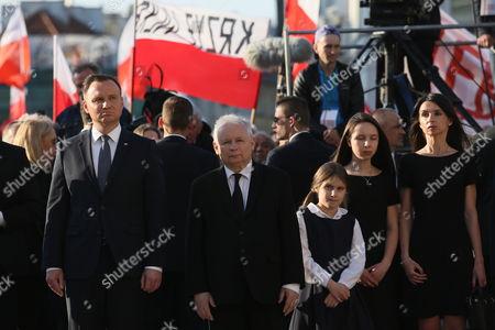 Andrzej Duda, Jaroslaw Kaczynski and Marta Kaczynska
