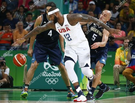 Usa's Demarcus Cousins (c) in Action with Argentina's Luis Scola (l) and Manu Ginobili During the Men's Basketball Quarter Final Match Between the Usa and Argentina of the Rio 2016 Olympic Games at the Carioca Arena 1 in the Olympic Park in Rio De Janeiro Brazil 17 August 2016 Brazil Rio De Janeiro