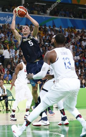 Argentina's Manu Ginobili (l) in Action During the Men's Basketball Quarter Final Match Between the Usa and Argentina of the Rio 2016 Olympic Games at the Carioca Arena 1 in the Olympic Park in Rio De Janeiro Brazil 17 August 2016 Brazil Rio De Janeiro